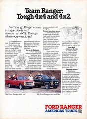 1985 Ford Ranger 4X2 & 4X4 Pickup Trucks Page 1 USA Original Magazine Advertisement (Darren Marlow) Tags: