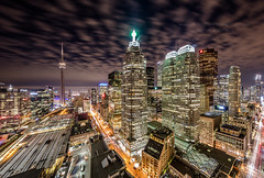 Toronto at night (HisPhotographs.com) Tags: cntower toronto downtown city cityscape citycenter buildings longexposure night yongestreet frontstreet unionstation 6ix tdbuilding architecture building highup clouds cloudy dundassquare dundas fairmontroyalyork hotel airbnb urban urbanscape cn tower landmark ontario canada