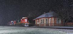 M391 twenty minutes later (GLC 392) Tags: cn canadian national gt gtw grand trunk western railroad railway train ge c408 emd gp9r depot fenton mi michigan snow april showers 2116 4619 night time flash flashing holly sub