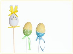 Easter Eggs (Karen_Chappell) Tags: easter holiday pastel white blue egg eggs decor decoration stilllife spring bunny rabbit green ribbon three 3 yellow
