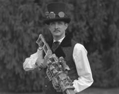 Steampunk Portrait (StrikeSloth) Tags: steampunk speedgraphic voigtlander bw