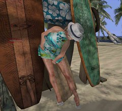 Kick up some sand! (Teddi Beres) Tags: second life sl virtual heels shoes pumps sand beach summer surfboard palm trees girl woman cute hat fashion style affordable