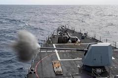 USS Nitze (DDG 94) fires its Mark 45 5-inch gun. (Official U.S. Navy Imagery) Tags: nitze ussnitze ddg94 arleighburkeclass destroyer guidedmissile deployment ussabrahamlincoln cvn72 aircraftcarrier carrierstrikegroup12 csg12 atlanticocean
