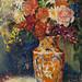 vasija con flores, oleo sobre tela