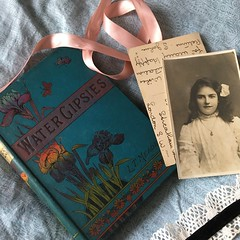 Water Gipsies (missemorris) Tags: books flatlay oldphotographs edwardian edwardiangirl vintage antique ephemera postcard ribbon lace blue