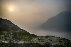 Ogwen valley sunrise (OutdoorMonkey) Tags: snowdonia snowdonianationalpark nationalpark wales northwales morning earlymorning mist misty penyrolewen tryfan sunrise