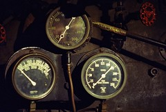 Vintage Steam Gauges (poavsek) Tags: railroad baltimore maryland trains bo museum alleghney coal steam locomotive film cinestill 800t 35mm leica m4 summicrom 50mm rigid