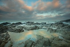 Little Fistral Reflections (Julian Barker) Tags: little fistral newquay cornwall kernow south west england uk europe refelction dawn sunrise cloud illuminated water rock rocks sea seashore coast atrlantic ocean canon dslr 5d mkii julian barker