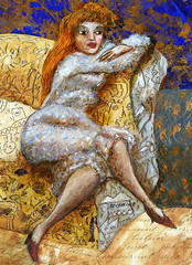 FEMME AU CANAPÉ (Boccacino) Tags: art oilpastel painting drawing girl love sofa mixedmedia jeanboccacino