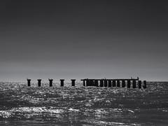 The abandoned jetty (Tim Ravenscroft) Tags: jetty ocean pier bocagrande florida seascape sea monochrome blackandwhite blackwhite hasselblad hasselbladx1d