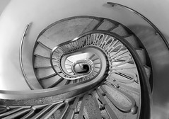 Down the Rabbit Hole (Karen_Chappell) Tags: hotel travel chicago usa stairs steps staircase spiral architecture abstract curves railing bw blackandwhite interior fisheye canonef815mmf4lfisheyeusm wideangle round circular geometry geometric illinois building perspective down city urban
