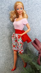 Barbie Fashion Friends Casual Wear #7482 from 1990 (VintageZealot) Tags: barbie mattel fashion friends kmart 1990 1987 1988 80s 90s 1980s 1990s dolls of the world dotw canadian bright breezy casual wear feeling pretty 7482 4928 4529 1525 fabric variation exclusive vintage retro doll clothing clothes outfit superstar super star china model modelling caucasian blonde plastic snaps jewelry ring diamond rhinestone crystal bodysuit tshirt shirt top body suit shorts belt sash floral pockets pumps red green white pink purple lilac mauve