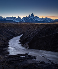 Patagonian Dusk (arrtography) Tags: view patagonia arr sunset canyon andes southamerica fall parquenacionallosglaciares scenic outdoors atmosphere autumn anthonyrryan landscape cerrotorre arrtography nationalpark argentina mtfitzroy glacier clouds ryan sky water adventure elchalten bluehour river curve hiking dusk fitzroy nature mountains snow anthonyryan valley