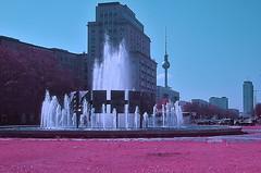 Berlin Infra_RED (Sven Gérard (lichtkunstfoto.de)) Tags: berlin infrared infrarot fullspectrum aerochrome kodakeir city stadt strausbergerplatz fernsehturm wasser brunnen