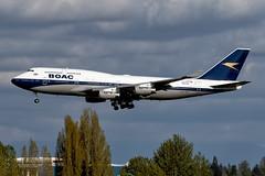 G-BYGC, British Airways, BOAC (1964-1974) Retro, Boeing 747-436, KSEA, April 2019 (a2md88) Tags: