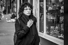 Let's Get Quizzical (Leanne Boulton) Tags: urban street candid portrait portraiture streetphotography candidstreetphotography candidportrait streetportrait eyecontact candideyecontact streetlife woman female girl face eyes expression mood emotion feeling hand tattoo hair style curly hairstyle tone texture detail depthoffield bokeh naturallight outdoor light shade city scene human life living humanity society culture lifestyle people canon canon5dmkiii 70mm ef2470mmf28liiusm black white blackwhite bw mono blackandwhite monochrome glasgow scotland uk