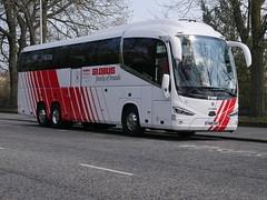 City Circle Coaches of Newbridge Scania K410EB6 Irizar i6S YN18SVP 96, in Globus Tours livery, at Regent Road, Edinburgh, on 11 April 2019. (Robin Dickson 1) Tags: busesedinburgh citycircle yn18svp scania410eb6 irizari6s globustours