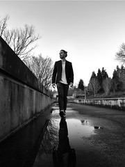 reflections (mental_digestion) Tags: street bw blackandwhite fashion puddles reflection industrial model male syle fuji fujifilm gfx 50s mood atmosphere 23mm