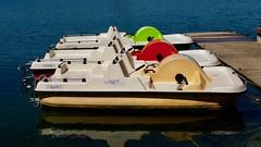 Tretboote (captain.orange) Tags: unterwagram niederösterreich österreich tretboot boot boat see lake bunt coloured drei three