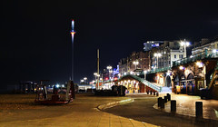 Brighton Seafront (Beardy Vulcan II) Tags: england autumn fall october 2016 brighton sussex westsussex beach coast seaside resort sea night nocturnal brightoni360 360 i360 tower observationtower