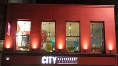 City Restaurant at Night 03 (byronv2) Tags: edinburgh edimbourg scotland cityrestaurant chips chipshop cafe building architecture southside southbridge night edinburghbynight nuit nacht red colour