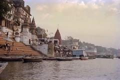 Varanasi (JamesWired) Tags: asia gangesriver india varanasi boats film ghats negative steps temple