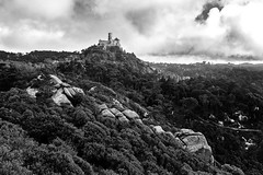 *** (shadobb) Tags: landscape castle travel portugal europe sony blackandwhite bnw monochrome couds sky mountains forest