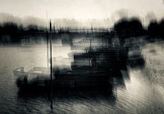 Impressions from the riverbank (Zara.B) Tags: iphone intentionalcameramovement icm impressions riverbank monochrome mobilephonecamera motionblur blur boats water light dark abstract painterly experimental silvertone