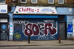 Chilliz-2, Vallance Road, Whitechapel (London Less Travelled) Tags: uk unitedkingdom britain england london eastlondon eastend towerhamlets street city urban whitechapel vallance shop cafe restaurant sign art graffiti streetart closed