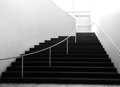 The Commons (Karen_Chappell) Tags: travel chicago bw black blackandwhite steps stairs stairway staircase railing museum gallery art interior usa illinois city urban building architecture lines curve wall canonef24105mmf4lisusm