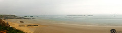 Arromanches Panorama (Mike House Photography) Tags: arrowmanches arromancheslesbain sea ocean view coast coastal town seascape landscape photography sand grass water cliff sky white blown out mist fog artificial harbour mulberry dday landing omaha gold beach world war ii 2 two