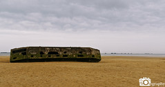 Mulberry Harbour (Mike House Photography) Tags: arrowmanches arromancheslesbain sea ocean view coast coastal town seascape landscape photography sand grass water cliff sky white blown out mist fog artificial harbour mulberry dday landing omaha gold beach world war ii 2 two