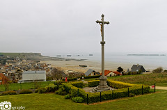 Arromanches 360 (Mike House Photography) Tags: arrowmanches arromancheslesbain sea ocean view coast coastal town seascape landscape photography sand grass water cliff sky white blown out mist fog artificial harbour mulberry dday landing omaha gold beach world war ii 2 two