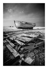 'Fallen' - Dungeness / April 14th (Edd Allen) Tags: dungeness powerstation kent sea seaside coastguard lookout seascape tower architecture sky atmosphere atmospheric buclic serene autumn uk england britain nikon zeissdistagon18mm clouds sunset boats shingle blackandwhite bw infrared d610