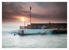 Low & Slow (picturedevon.co.uk) Tags: paignton harbour torbay riviera devon uk sunrise color seascape sun clouds sky sea water red blue orange tide waves le wall seawall steps outdoors nisi 6stop ndfilter canon tripod picturedevoncouk