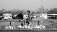 Save Mother Earth (ƒliçkrwåy) Tags: mono monochrome london street bridge thames environment protest waterloo extinctionrebellion couple