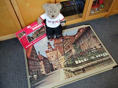 Sumware in Germunny (pefkosmad) Tags: jigsaw puzzle hobby leisure pastime vintage towerpress qualitexboard rothenburggermany complete used secondhand damagedpieces mended repair 1970s emperor 1400pieces photograph photo town view tedricstudmuffin teddy ted bear animal toy cute cuddly plush fluffy soft stuffed