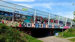 Overschie - A20 (oerendhard1) Tags: graffiti streetart urban art rotterdam oerendhard tunneltje underpass overschie vandalism illegal throw ups tags sicaz okus olms