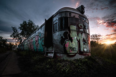 The Silver Bullet (jpetersxn) Tags: abandoned travel trains train old danger decay dust dirty adventure building machinery alone solitude queensland art australian australia lost place extreme explore seeker rust brisbane urban urbex exploration graffiti forgotten sunset sun grass landscape banger sky clouds lightroom photoshop photography