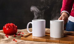 two white ceramic mugs on brown wooden tray - Credit to https://myfriendscoffee.com/ (John Beans) Tags: coffee cafe coffeebeans shopbeans espresso coffeecup cup drink cappucino latte