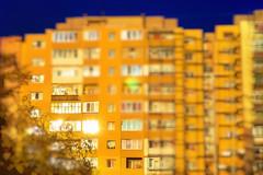 Urban sunset (petrapetruta) Tags: yellow blue building sky sun light colorful wall urban blur