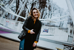 Sunday fun. (lukas.miller.photography) Tags: nikon photography photo lifestyle girl d7100 35mm 18 lunapark prague outdoor outside cloudy grain film look wheel mood