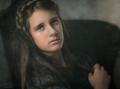 Madalyn ({jessica drossin}) Tags: jessicadrossin portrait face woman girl painting painterly texture braid hair eyes grey hand wwwjessicadrossincom