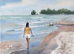 Beach, Bluffs Park, 2019-04-24 (light and shadow by pen) Tags: watercolor landscape seascape art bluffs park beach