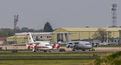 RAF BAe 146's parked at RAF Benson (baldychops) Tags: bae bae146 britishaerospace aircraft plane raf royalairforce benson rafbenson airfield ramp park parked aviation military airforce outdoor