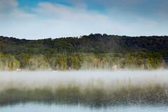 The Fog That Lifts (matthewkaz) Tags: fog mist morning limelake lake trees water reflection reflections maplecity cedar michigan puremichigan summer 2017