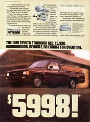 1985 Toyota Standard Bed Pickup Truck USA Original Magazine Advertisement (Darren Marlow) Tags: 1 5 8 9 19 85 1985 t toyota s standard b bed p pickup truck c car cool collectible collectors classic a automobile v vehicle j jap japan japanese asian asia 80s