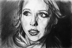 UNEXPECTED (Sketchbook0918) Tags: unexpected surprised startled charcoal portrait drawing sarahmichellegellar expressive cinematic dark