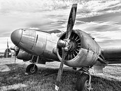 Beechcraft C-45 (Hope2b) Tags: twinengine taildragger vintage military airplane fairfieldcountyairport historicalaircraftsquadron c45 bw blackandwhite monochrome aviation