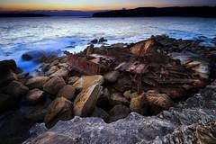 Wreck at Cape Banks (FunkyGibbon777) Tags: canon80d canonefs1018mmf4556isstm capebanks sydney nsw botanybay landscape wreck rocks ocean sunset steel iron